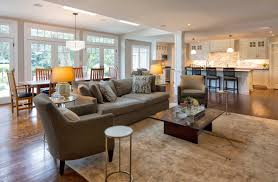 Grey Sofas And Low Coffee Table On Wide Carpet Used Inside Simple Living Room Using Open