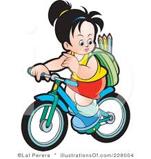 Kids Riding Bikes Clipart