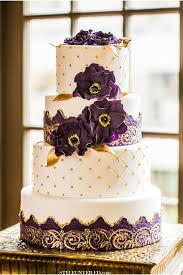 Purple And Gold Wedding Cake Photo
