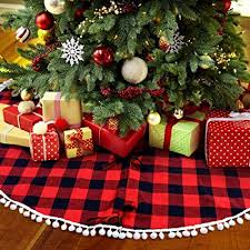 PartyTalk 48 Inch Christmas Tree Skirt Red And Black Buffalo Plaid With Pom