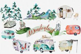 Watercolor Wanderlust Clipart SetRetro VehiclesRetro CampingTraveling ClipartMountainsBackpackDigital ScrapbookingVintage Trailer