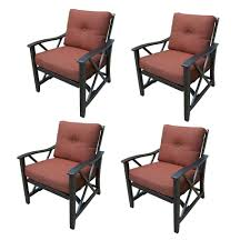 Haywood Aluminum Outdoor Rocking Chair With Red Cushion (4-Pack)