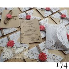 174 Doily Rustic Wedding Invitation Coral MYCARDS