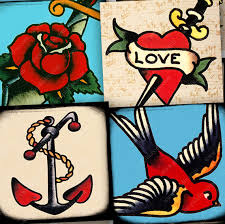 Vintage Retro Tattoo Digital Collage Sheet 1 Inch Square Printable Tattoos Sailor Jerry Bird Anchor Rose Heart Mom Piddix 967 From On Etsy Studio