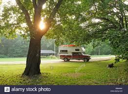 100 Pickup Truck Camping Camper Bellevue State Park Bellevue Iowa USA Tree Sun