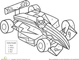 Kindergarten Math Worksheets Color By Number Race Car