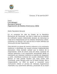Venezuela Formalizó Este Viernes Su Retiro De La OEA Vea La Carta