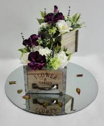 Vintage Rustic Style Wooden Planters With Floral Arrangement