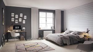 chambre nordique chambre scandinave grise blanche moderne tapis motifs géométriques