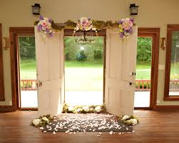 Wedding Ceremony Arch Old Doors And Ladder With Vintge Chandelier