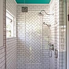 herringbone subway tile shower design ideas