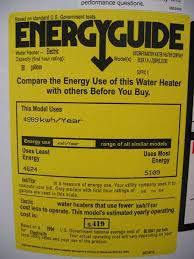 EnergyGuide Label For The 35000 Water Heater