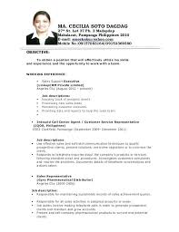 Lovely Sample Resume Format For Call Center Agent Without Experience Job Description Samples Resumes