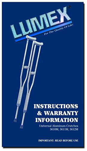 Lumex Universal Aluminum Crutches, Adult, Latex-Free 3610lf-8
