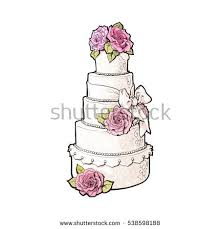 Traditional white tiered wedding cake decorated with pink marzipan roses sketch style illustration isolated on