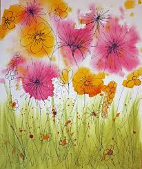 Craft And Other Activities For The Elderly Painting Wild Flowers With Wet Watercolours
