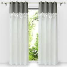 details zu vorhang blickdicht gardinen mit ösen wohnzimmer weiß ösenschal halbtransparent