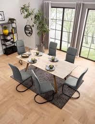 my home essgruppe set 7 tlg aus holzwerkstoff bestehend aus juncus esstisch 200 cm und 6 amanella stühlen