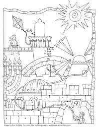Free Hanukkah Printable Coloring Pages Jersusalem By Ann Koffsky
