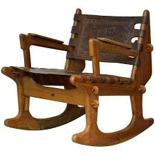 100 Unique Wooden Rocking Chair MidCentury Modern Ecuadorian Wood And Leather By Angel Pazmino