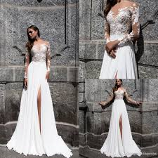 summer 2017 bohemian lace beach wedding dresses sheer neck long