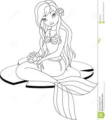 Mermaid Coloring Page Stock Vector Image Royalty Printable Images To Color Cartoons