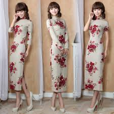 red floral retro cheongsam traditional chinese dress beige linen