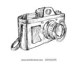 Sketch Of Vintage Camera Show Outline Drawing Art For Decoration Illustration