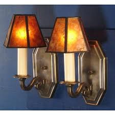 reproduction brass arts crafts style wall lights with mica