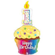 Happy 1st Birthday Cupcake SuperShape Foil Balloon