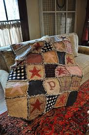Flannel Rag Quilt With Stars And Initials Of A Boy I Knowthis Is Wonderful For Either Girl Or Boyjust Change Few The Colors But Keep It Rustic