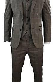 Mens 3 Piece Tan Brown Check Tweed Herringbone