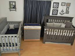 World Map fabric with navy and grey custom crib bedding in a