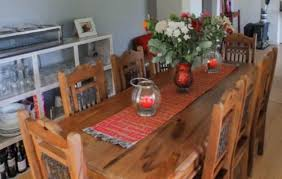 8 Seater Natural Teak Dining Table With Chairs For Sale