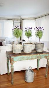 Lavender Topiaries In Galvanized Buckets Lovely Distressed Green Table Rustic Farmhouse