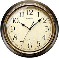 plumeet wanduhr groß klassisch 25 cm ruhige retro wanduhr ohne tickgeräusche für wohnzimmer schlafzimmer batteriebetrieben arabische ziffern