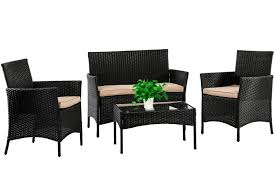 Patio Furniture Set 4 Piece Outdoor Wicker Sofas Rattan Chair Wicker  Conversation Set Coffee Table Bistro Sets For Pool Backyard Lawn,Black 3pc Black Rocker Wicker Chair Set With Steel Blue Cushion Buy Stackable 2 Seater Rattan Outdoor Patio Blackgrey Bargainpluscomau Best Choice Products 4pc Garden Fniture Sofa 4piece Chairs Table Garden Fniture Set Lissabon 61 With Protective Cover Blackbrown Temani Amazonia Atlantic 2piece Bradley Synthetic Armchair Light Grey Cushions Msoon In Trendy For Ding Fabric Tasures Folding Chairrattan Chairhigh Back Product Intertional Caravan Barcelona Square Of Six
