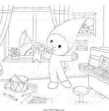 Coloring Page Of A Black And White Little Elf Playing Horn In Music Room