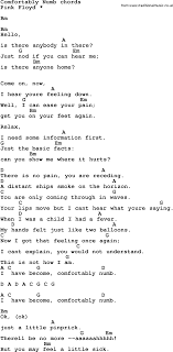 Song lyrics with guitar chords for fortably Numb