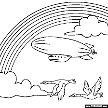 Rainbow And Blimp Online Coloring Page
