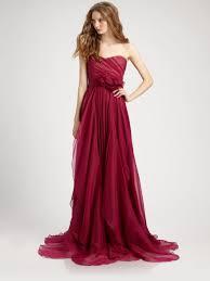 notte by marchesa silk chiffon strapless empire waist gown in red