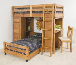 Wooden L Shaped Bunk Bed With Study Table And Built In Tall Narrow Dresser Plus Also Rustic Mission Style Back Chair