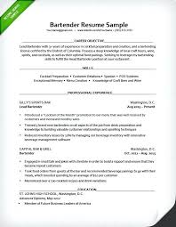 Example Bartender Resume Samples Server Position