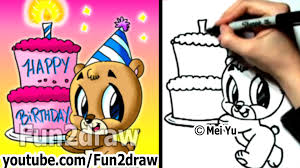How to Draw a Bear with a Birthday Cake Fun Things to Draw Fun2draw
