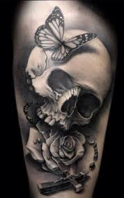 Gothic Skull With Rosary Cross Tattoo Design