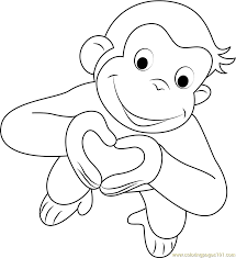 Valentines Day Curious George Coloring Page