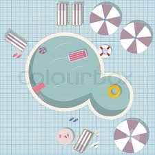 Swimming Pool Vector Illustration With Toys Like Rubber Ring Air Mattress Top View Umbrellas Table Food Sunscreen