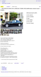 At $14,000, Could This 1992 Plymouth Laser RS Turbo Be The New Normal? 2018 Concours Dlemons Monterey Winners Car Week The Automobile Guide Magazine Curbside Classic 1971 Mercury You Could Have Had A Marquis Nicb Warns Shoppers About Common Craigslist Scams This 1986 Chevrolet Cavalier Convertible Will Surely Stand Out At 12 Porsches Well Be Watching The Auctions Billie Joe Armstrongs Chevy Nova Ss Up For Auction In Used Corvettes Sale By Corvette Mike Over 35 Years Fort Myers Fl Cars Owner Popular Deals Free Craigslist Find Toyota Dolphin Motorhome From Hell Roof Garage Sales Modernlightingga