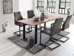 esszimmer essgruppe mit 4 stühlen esstisch komplettset echter baumkante akazie schwarz