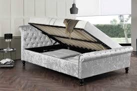 st james silver crushed velvet ottoman sleigh bed frame double